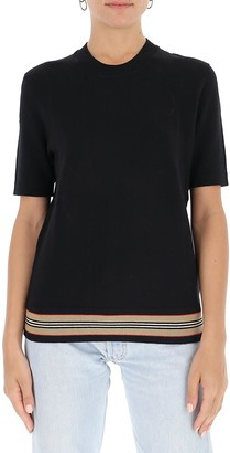 Burberry Icon Stripe Detail Short-Sleeve Knit Top