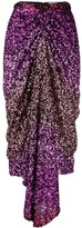 Halpern sequin-embellished draped midi skirt