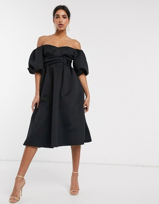 ASOS DESIGN bardot puff sleeve midi prom dress with belt detail