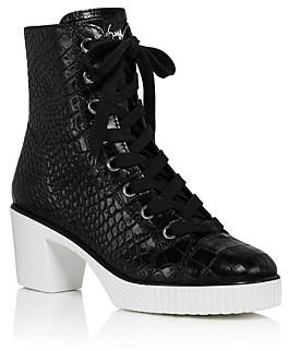 Giuseppe Zanotti Women's Crocodile-Embossed High-Heel Platform Boots