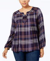 Style&Co. Style & Co Plus Size Plaid Split-Neckline Top, Created for Macy's