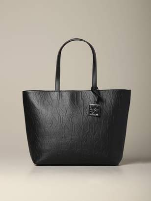 Armani Exchange Shopping Bag In Logoed Leather