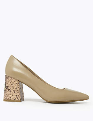 Marks and Spencer Block Heel Pointed Toe Court Shoes