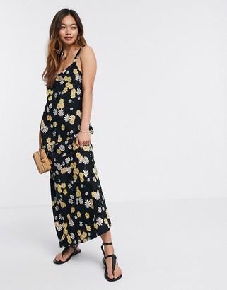 Asos DESIGN linen cami maxi dress in ditsy floral print