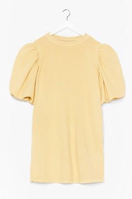 Nasty Gal Womens When the Going Gets Puff Sweatshirt Dress - Lemon