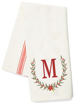 White & Red Stripe Laurel Initial Kitchen Towel