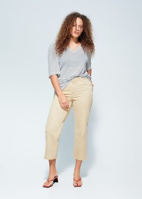 MANGO Violeta BY Striped linen T-shirt off white - S - Plus sizes
