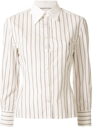 Chanel Pre-Owned striped slim-fit shirt