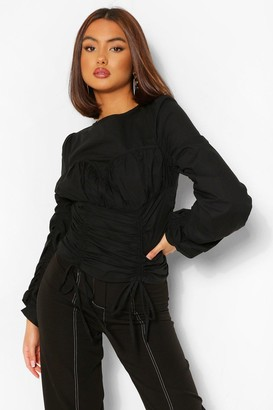 boohoo Cotton Poplin Cup Detail Ruched Blouse