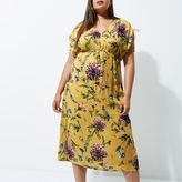 River Island Womens Plus Yellow floral ruched sleeve midi dress