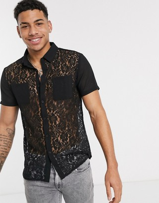 Another Influence lace panel short sleeve shirt