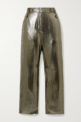 Derek Lam 10 Crosby Persis Silk And Lurex-blend Straight-leg Pants - Gold