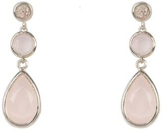 Latelita Tuscany Gemstone Drop Earring Silver Rose Quartz