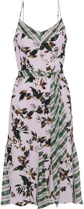 Diane von Furstenberg Ciella Striped Georgette-paneled Floral-print Silk Crepe De Chine Dress
