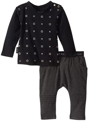 TINY TRIBE Ox Tee and Leggings Set (Infant) (Black/Dark Grey) Boy's Active Sets