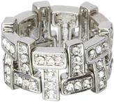 Love Rocks Crystal & Silvertone 'T' Stretch Ring