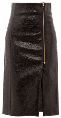 Hillier Bartley Zipped Cracked-vinyl Pencil Skirt - Womens - Black