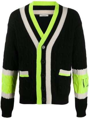Valentino Colour-Block Cable Knit Cardigan