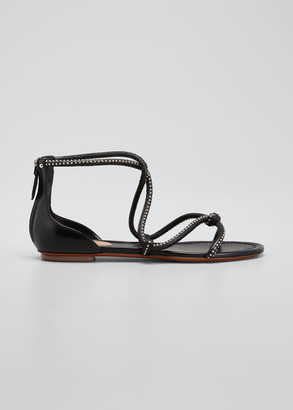 Alaia Studded Leather Strappy Flat Sandals