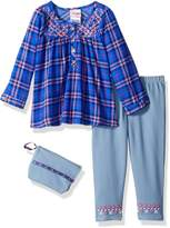 Nannette Little Girls' 2 Piece Embroidered Top and Jegging Set with Purse