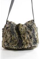 DESIGNER Brown Faux Fur Brown Leather Satchel Handbag