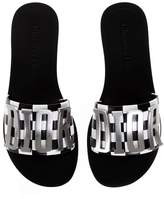 Christian Dior White Leather Sandals With Logo