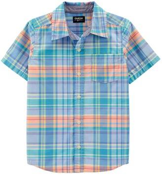 Osh Kosh Boys 4-14 OshKosh Bgosh Plaid Short Sleeve Button-Front Shirt