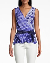 Nicole Miller Watercolor Tie Dye Upside Down Blouse