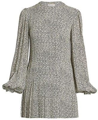 Saint Laurent Abstract Print Blouson Sleeve Mini Dress