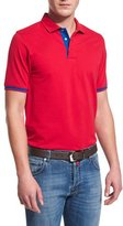 Kiton Short-Sleeve Snap-Placket Pique Polo Shirt, Red