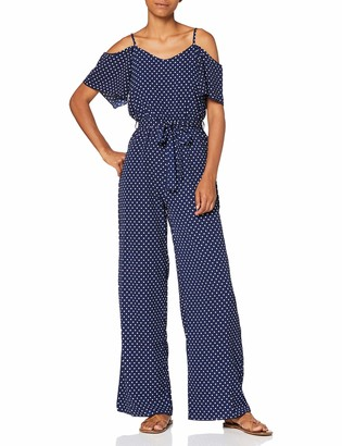 Yumi Women's Polka Dot Cold Shoulder Jumpsuit