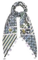 Max Mara Floral-print and striped silk scarf