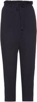 Sea Seersucker-cotton cropped trousers