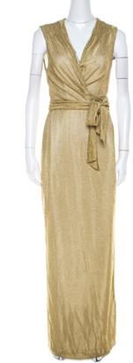 Diane von Furstenberg Metallic Gold Knit Sleeveless Maxi Wrap Dress M
