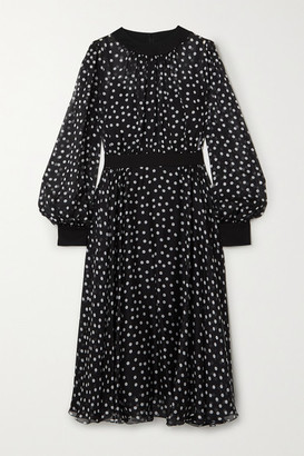 Dolce & Gabbana Polka-dot Silk-blend Chiffon Midi Dress - Black