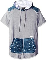 Southpole Men's Short Sleeve Elongated Scallop Hoodie Tee with Washed Denim Patch Details