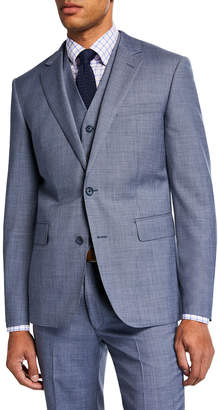 Neiman Marcus Men's Sharkskin Vested Three-Piece Suit