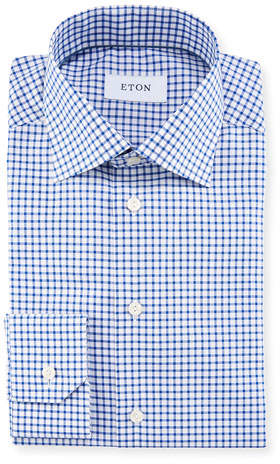 Eton Men's Royal Tattersall Stretch Dress Shirt