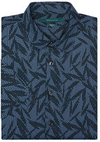 Perry Ellis Short Sleeve Tropical Leaf Poplin Shirt