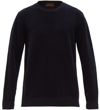 Altea Crew Neck Ribbed Chenile Sweater - Mens - Navy