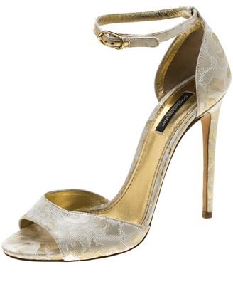 Dolce & Gabbana Gold Brocade Ankle Strap Sandals Size 38.5