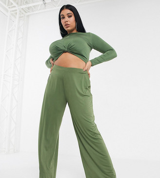 ASOS DESIGN Curve co-ord slinky wide leg trouser