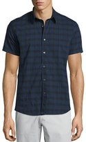 Theory Benner Check Short-Sleeve Woven Shirt, Eclipse Multi