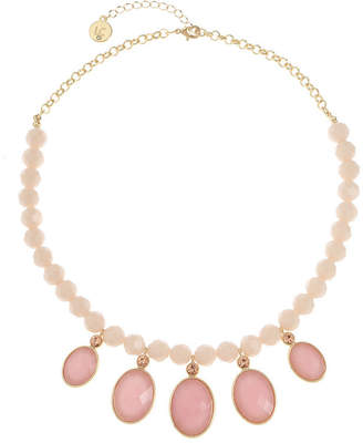 Liz Claiborne Pink 18 Inch Cable Oval Collar Necklace
