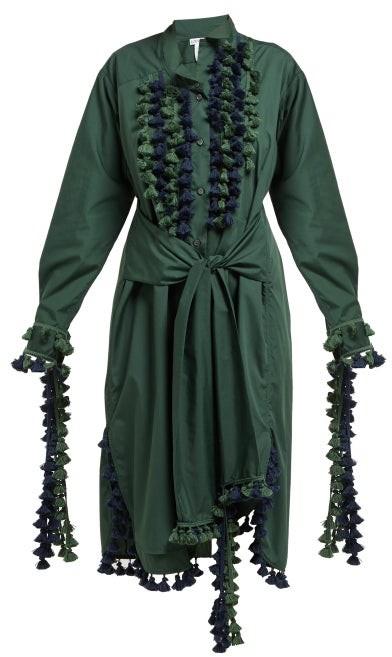 Loewe Pompom-trimmed Poplin Shirtdress - Womens - Green