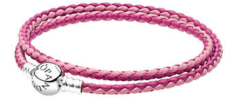 Pandora Charm Carrier Pink & Silver Braided Double Leather Charm Bracelet
