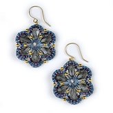 Miguel Ases Designer Crystal Dangle Earrings with Blue Seed Beads
