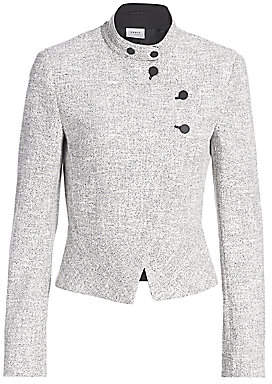 Akris Punto Women's Asymmetric Button Zip Houndstooth Jacket