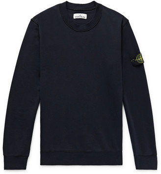 Stone Island Logo-Appliqued Garment-Dyed Loopback Cotton-Jersey Sweatshirt