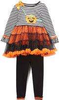 Nannette Black Pumpkin Tunic & Leggings Set - Infant Toddler & Girls